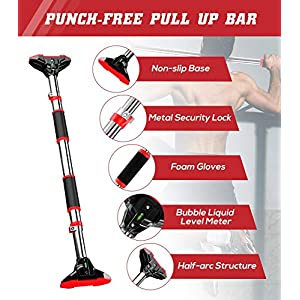JZBRAIN Pull Up Bar for Doorway, Chin Up Bar No Screw Installation Strength Training Pull-Up Bars with Automatic Locking, Adjustable Width for Home Gym Exercise Fitness 440 LBS