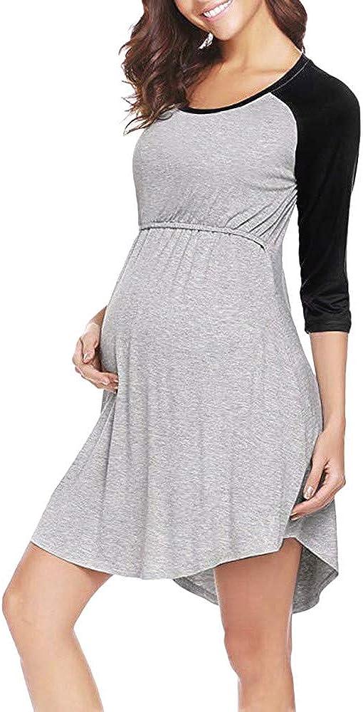 Pacoco Maternity Nightgown, Nursing Dress Pregnancy Breastfeeding Sleepwear Nightshirt for Women