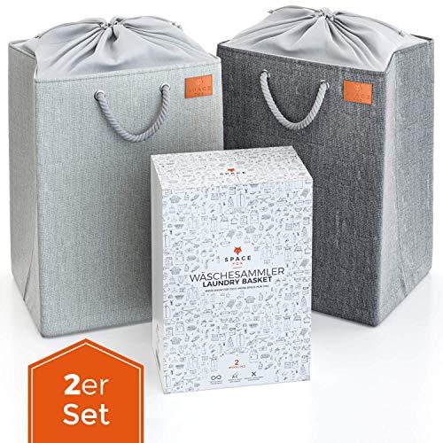 SpaceFox Wäschesammler 2er Set - faltbar & freistehend - Wäschetonne mit Abdeckung - große Wäschekörbe - je 69 Liter - XL Wäschesack - Laundry Baskets zum Trennen von Schmutzwäsche - grau