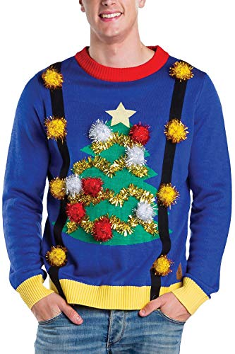 Tipsy Elves Men's Tacky Christmas Sweater - Christmas Tree Sweater with Suspenders Size XL Blue