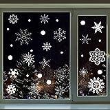BELLE VOUS Pegatina Navidad Ventana (148 Piezas) - Pegatinas Copos de Nieve Blanco Estática para Decoración de Fiesta de Navidad, Frozen, Ventana del Hogar, Tienda - Adornos Navideños