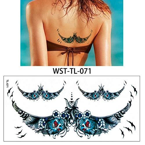 yyyDL Bijoux Femmes Tatouage Temporaire Corps Poitrine Taille Art Tatouage Autocollant Refroidisseur Ras Du Cou Pendentif 19 * 9cm 4pcs