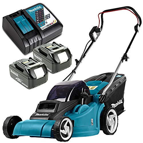 Photo of Makita DLM380 18V Twin Lawn Mower with 2 x 5Ah Batteries & DC18RC Charger