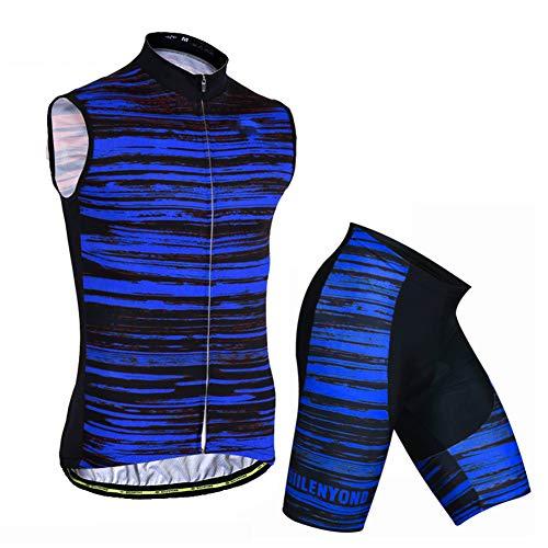 Damen Radtrikot Atmungsaktive Fahrradbekleidung Set Fahrrad Trikot Ärmellos Mit Radsport-Trägerhosen,A,XL