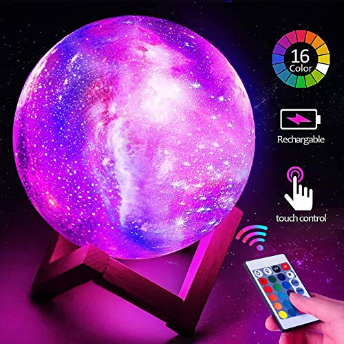 touugo 3D Print LED Star Moon Light Lamp Night Light for Kids, Dimmable Touch Control Brightness Light for Home Decoration and Gifts for Lovers, Parents, Friends, 16 Color 15cm