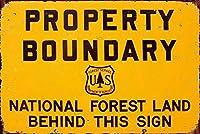 126新しいブリキサインプロパティ境界国有林ヴィンテージアルミニウムメタルサイン8x12インチ