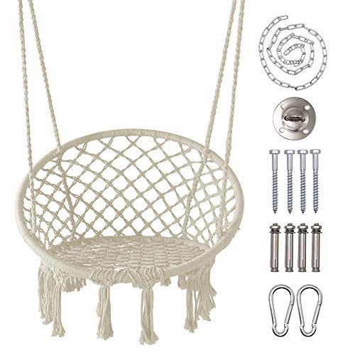 LAZZO Hammock Chair with Hanging Kit and Chain, Cotton Rope Macrame Swing, 260Pounds Capacity, 20' Width, for Indoor, Garden, Patio, Yard (Beige)