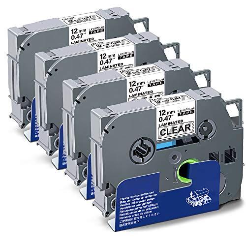 UniPlus Compatibile Nastri per Etichettatrice Compatibile per Brother Tze-131 Tze131 Nastro Cassette Etichette per Brother P-Touch Cube PT 1000 H105 H100LB H101C, 12mm x 8m, Nero su Trasparente, 4 Pz