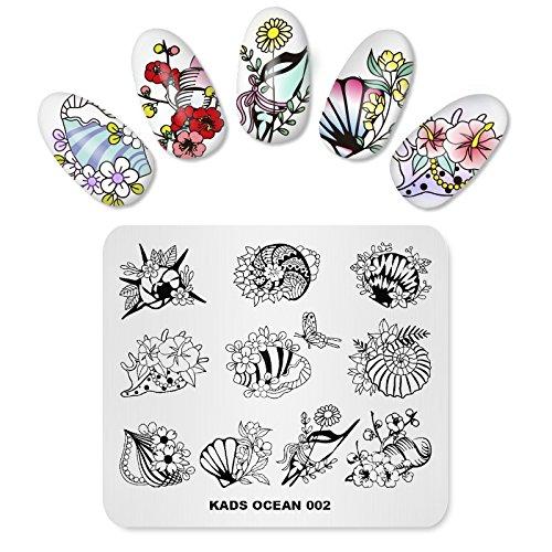 Alexnailart Nail Stamping Plate Ocean Theme Image Modèles de conception Shell Conch Fleur Motif Papillon Manucure Imprimer DIY Nail Art Outils