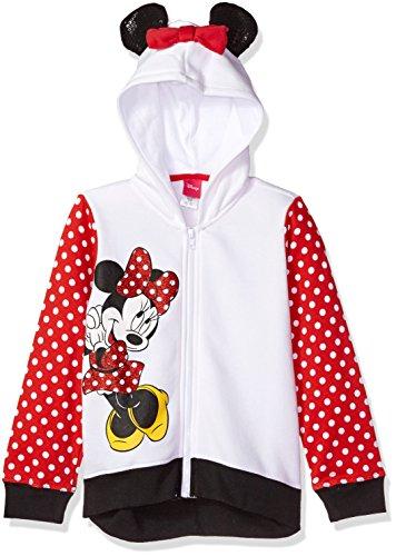 Disney Girls' Big Minnie Mouse Costume Hoodie, White/red/Black, 7/8