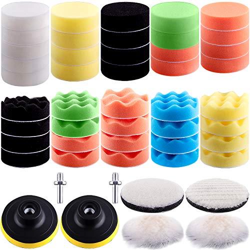 SIQUK 48 Stücke Auto Polierschwamm Polierpad Set, Polierschwamm Set die Oberflächenhelligkeit des Autos zu Reinigen und zu Verbessern