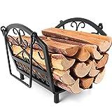 Amagabeli Chimenea Madera Cesta 36 x 32 x 31.5cm Cesta para Leña con Mango leña Cesta Acero titular de la leña Chimenea de madera cesta de leña Soporte de madera Cesta de chimenea Negro