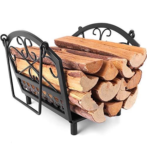 Amagabeli panier à buches 36 x 32 x 31.5cm panier a bois cheminee panier buches Porte-bûches de cheminée Support À Bois De Chauffage Acier de cheminée range bois Intérieur/extérieur Poêle À Bois