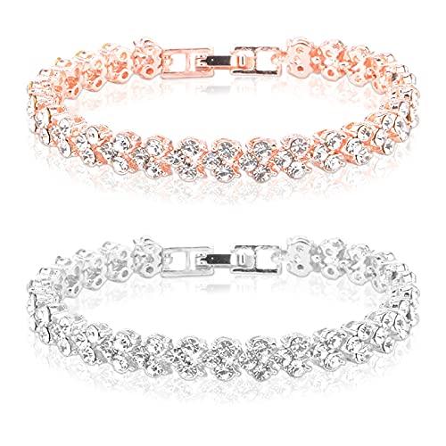 Pistaz Brazalete para mujer de acero inoxidable y cristal, dos pulseras plateadas y oro rosado, joyas de regalo (A, multicolor)