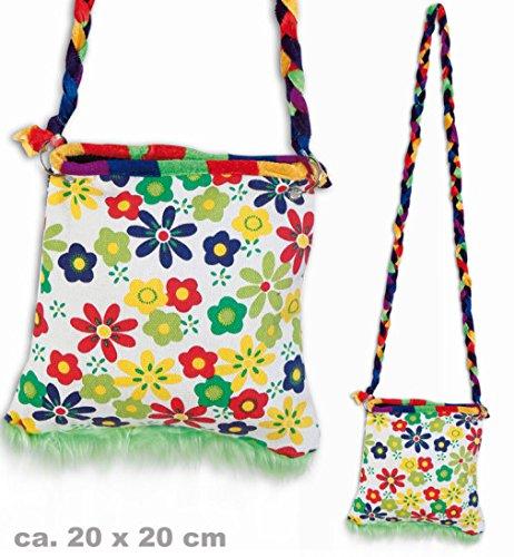 narrenwelt Hippie Tasche Flower Power mit Zipper Umhängetasche Schultertasche ca. 20 x 20 cm Retro - Look Accessoires