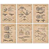 Vintage Star Trek Patent Poster Prints, Set of 6 (8x10) Unframed Photos, Wall Art Decor Gifts Under 20 for Home, Office, Garage, Man Cave, Shop, College Student, Teacher, Comic-Con & Movies Fan