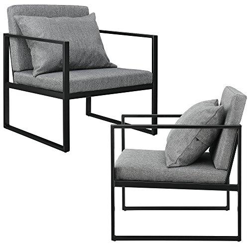 [en.casa] Esszimmersessel mit Rückenkissen im 2er-Set Lehnstuhl Relaxsessel Esszimmer Stuhl Sessel Polstersessel Eisengestell 70x60x60cm Dunkelgrau