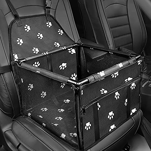 Dog Booster Car Seat, HIPPIH Pet Booster Seat for Car with 2 PVC Support Bars, Portable, Foldable, Breathable Pet Car Carrier with Safety Leash and Zipper Storage Pocket, Upgrade