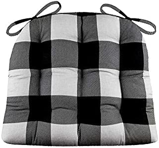 Barnett Home Decor Dining Chair Pad with Ties - Latex Foam Fill Cushion - 100% Cotton, Made in USA - Machine Washable, Reversible (Buffalo Check Grey & Black, Standard)