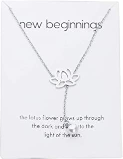 POTIY New Beginnings Rising Lotus Pendant Necklace Sun Y Necklace Lucky Lotus and Pearl Pendant Necklace Inspirational Gif...