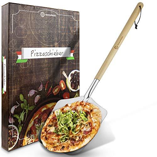 SQUALIPRODU ® Pizzaschieber - Pizzaschaufel aus rostfreiem Edelstahl und Pappelholz - stabiles Gewinde & robuster Holzstab - extra lang - entgratet - Schlaufe zum Aufhängen