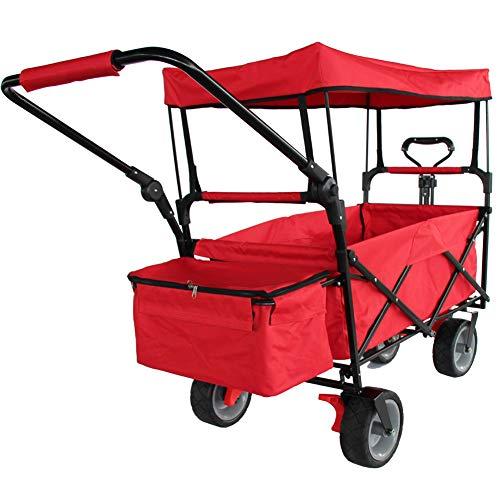 J. SCR Falt-Mehrzweck-Warenkorb, Trolley, Warenkorb, Tragbarer Trolley, Kinderwagen, Stiller Kasten, Rot
