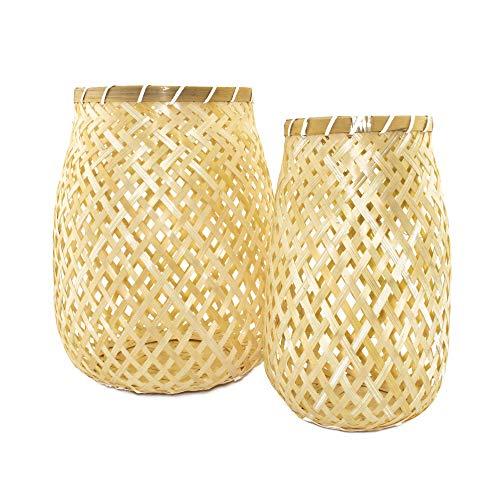 BOURGH Laterne Bambus Set BORGATA - Natur Holz Windlicht Set, gelb, 32 cm und 28 cm hoch, Kerzenhalter Windlicht Glas - Geeignet als Balkon Deko und für Garten, Terrasse und Wohnung