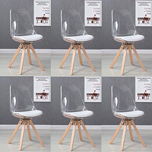 Designetsamaison Lot 6 chaises scandinaves Transparentes