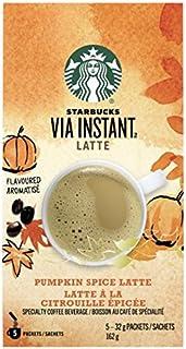 Starbucks Via Instant Latte, Pumpkin Spice Latte, Instant Coffee, 5 Packets