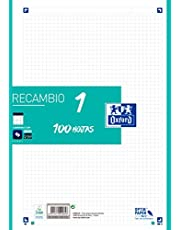 Hojas cuadriculadas A4 Recambio Oxford 400106625 Banda color Ice Mint. 100 Hojas. Cuadrícula 5x5.