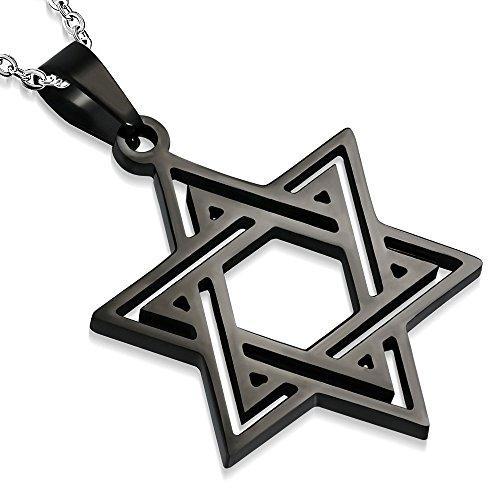 My Daily Styles - Collana con ciondolo a forma di stella ebraica di Davide, in acciaio INOX, 21,5 cm e Acciaio inossidabile, colore: Nero , cod. T1260