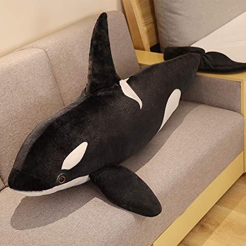 YMQKX 75cm Ballena Negra de Peluche de Juguete Big Fish Ragdoll tiburón Felpa Animal Marino cumpleaños para niños y niños 75cm A
