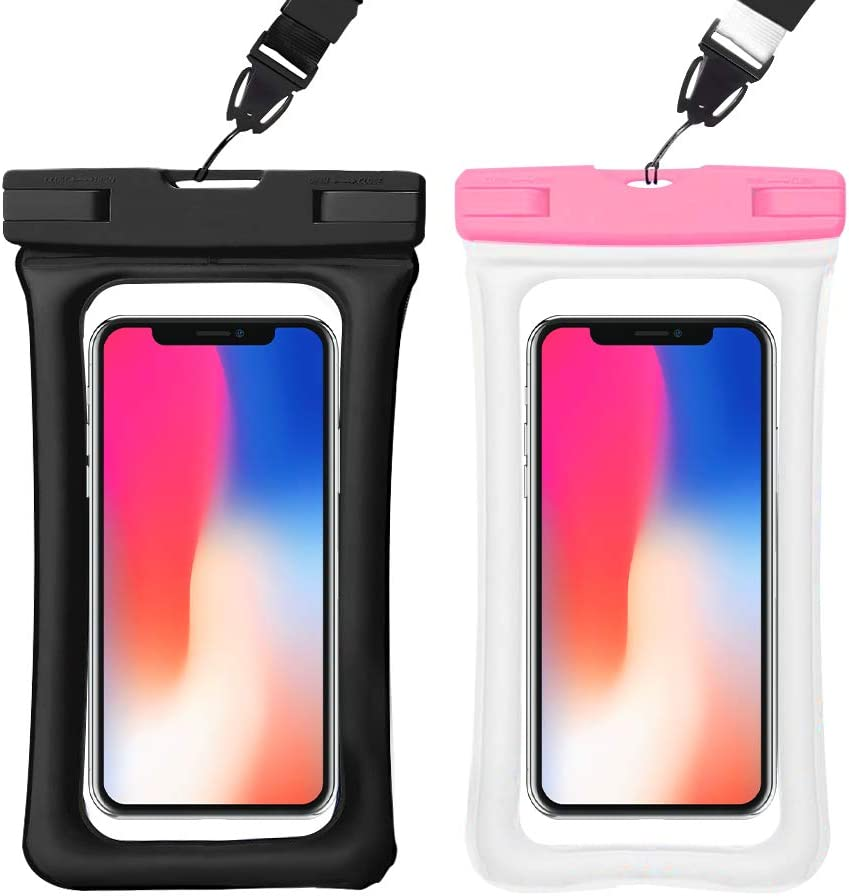 Waterproof Phone Pouch 2 Pack IPX8 Universal Floating Waterproof Phone Case,TPU Clear Dry Bag for iPhone 6/6s/7/8/8plus/X/Xs/XS Max/XR Samsung Galaxy s10/s9/s8 Note 9 up to 6.5