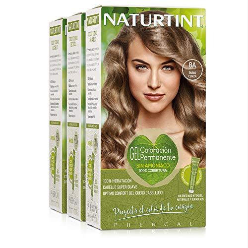 Naturtint Coloración 8A Rubio Ceniza. Tinte sin Amoniaco. 100% Cobertura de Canas e Hidratación. Ingredientes y Aceites Vegetales. Color Natural y Duradero. Pack de 3