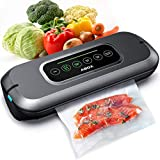 ABOX Vacuum Sealer, V66 Automatic Food Sealer Machine One-Touch Sealing for Dry and Moist Food Fresh Preservation with 10PCS BPA Sealing Bags for Meat, Vegetables, Fruits