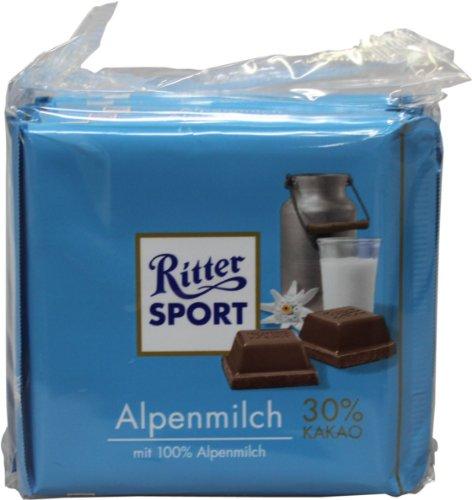 RITTER SPORT Alpenmilch-Schokolade 30%, 5er Set (5 x 100g Tafeln)