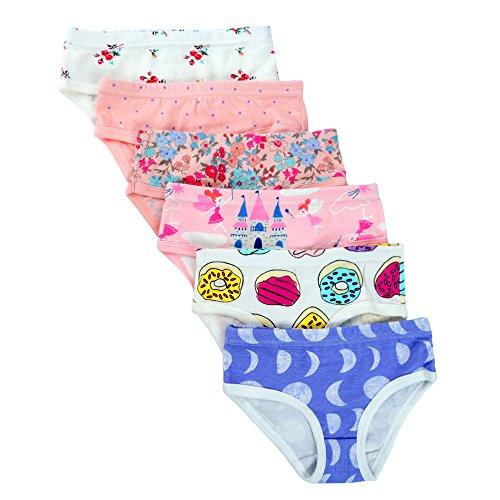 Kidear Soft Serie Documentos de los bebés del algodón PantiesAssorted (paquete de 6) para Bebé niña style4 5-6 años