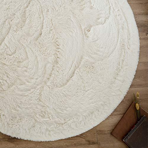 サヤンサヤン エクセレントムーティー� 洗える シャギー ラグ 円形 直径 140 マット ホワイト