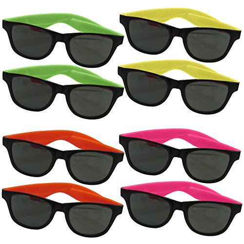 dazzling toys 24 Pairs Of Neon Long Lasting 80's Retro Vintage Party Eyewear,Shades,Sunglasses For Children