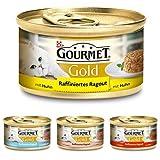 Purina Gourmet Gold Raffiniertes Ragout Mixpaket Katzennassfutter, Huhn, Thunfisch, Lachs und Rind, 48er Pack (4 x 12 x 85 g Dose)