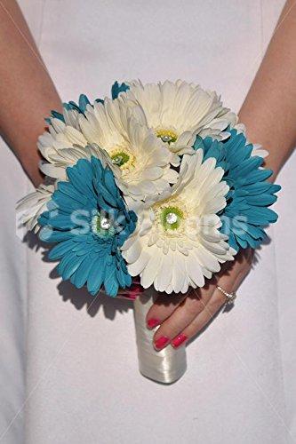Turquesa brillante y marfil de Margarita y cristal de la dama de honor de la boda ramo prod.no