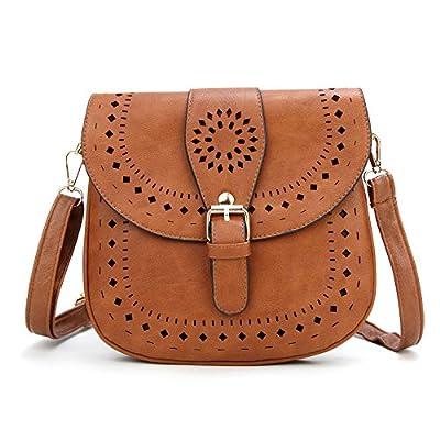 Forestfish Ladie's PU Leather Vintage Hollow Bag Crossbdy Bag Shoulder Bag (Brown)