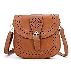 A brown saddle crossbody bag with removable strap. Certainly, one of the best affordable purses under 20 dollars
