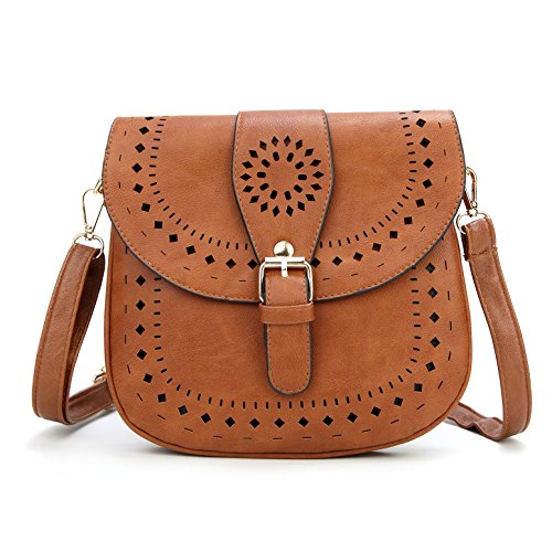 Forestfish Ladie's PU Leather Vintage Hollow Bag Crossbdy Bag Shoulder Bag (Brown)