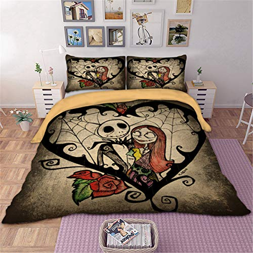 Nightmare Before Christmas Duvet Cover with Zipper Closure, Christmas Bedding Quilt Cover with 2 Pillow Cases, Soft Microfiber Halloween Bedding Doubie Size 200X200cm