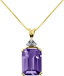 """Gorgeous 16X12 Emerald Cut Amethyst & Diamond Pendant set in Yellow Gold Plated Silver with 18"""" Chain"""