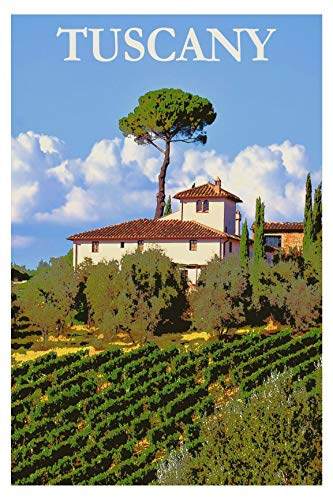 EzPosterPrints - Vintage Style Travel Poster Series- Poster Printing - Wall Art Print for Home Office Decor - Tuscany - 24X36 inches