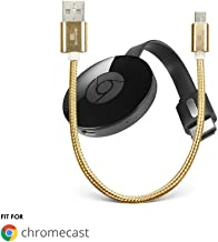 Chromecast USB Power Cable (Does NOT Include Chromecast Device) - Short Power Cable Designed to Power Your Google Chromecast HDMI Streaming Media Player from Your TV USB Port (1 Pack, Gold)