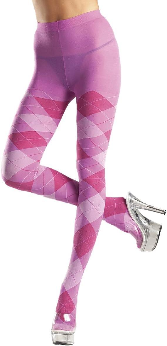 Nylon Argyle Print Tights Adult Hosiery Bubblegum Pink - Queen