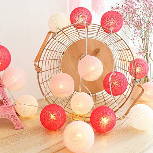 LED Cotton Ball Lichterkette Innen, HOSPAOP 3M 20 LED Kugel Lichterketten Mit USB Anschluss für Balkon Fenster Party, kinderzimmer, Hochzeit, Urlaub, Weihnachten